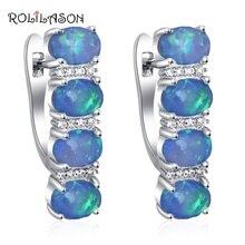 Rolinason, простые дизайнерские серьги-кольца для женщин, опт и розница, Синий огненный опал, серебро, штампованные, модные ювелирные изделия OE746