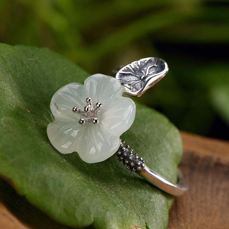 2019 Plum Jade Ring For Lady 100% 925 Sterling Silver Natural Jade Adjustable Ring Fine Jewelry For Engagement Gift