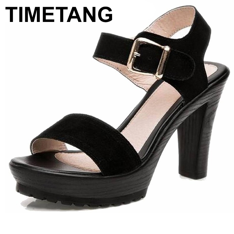 TIMETANG Summer Flock Black Women High heels genuine leather platform sandals Ladies Thin heel open toe wedges women's shoes timetang summer women shoes woman fashion genuine leather open toe sandals ladies casual platform wedges plus size sandals c213