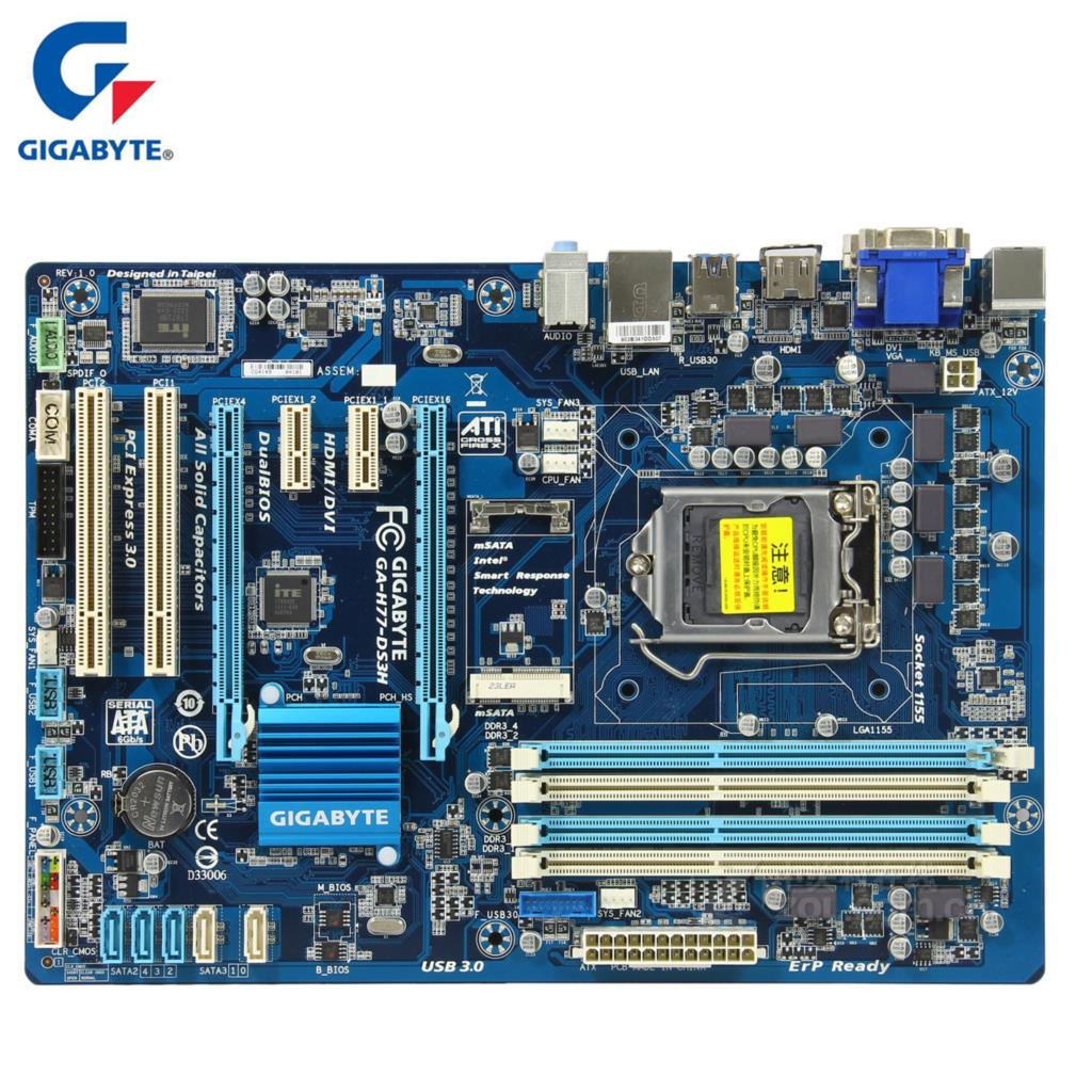 Gigabyte GA-H77-DS3H Motherboard For Intel H77 DDR3 USB3.0 32GB SATA III LGA 1155 H77 DS3H Desktop Mainboard Systemboard Used