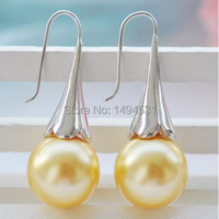 Wholesale Pearl Jewelry 16MM Round Champagne Shell Pearl Morning Glory Hook Earrings Hot Sale Earring XZN17