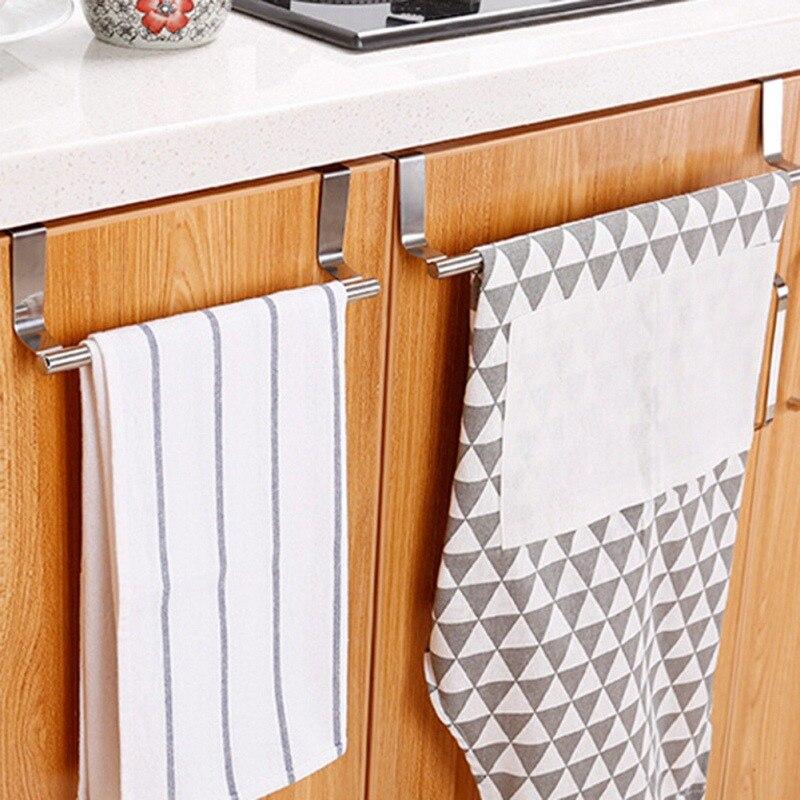 Bathroom:  Bathroom Door Kitchen Towel Over Holder Drawer Hook Storage Scarf Hanger Cabinet Hanging Stainless Steel Towel Rack - Martin's & Co