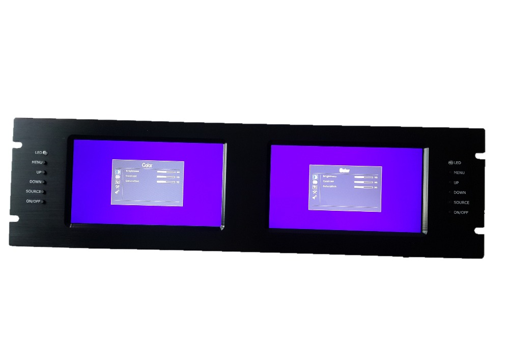 19 3U Rack Mount Monitor, 2*7 LCD, 2* HDMI Input; 12VDC IN, VGA & AV In optional