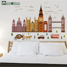 MARUOXUAN Hot Sell Big Ben In London Architecture Series Wall Stickers Living Room Bedroom Vinyl Mural Art Wall Decals(China)