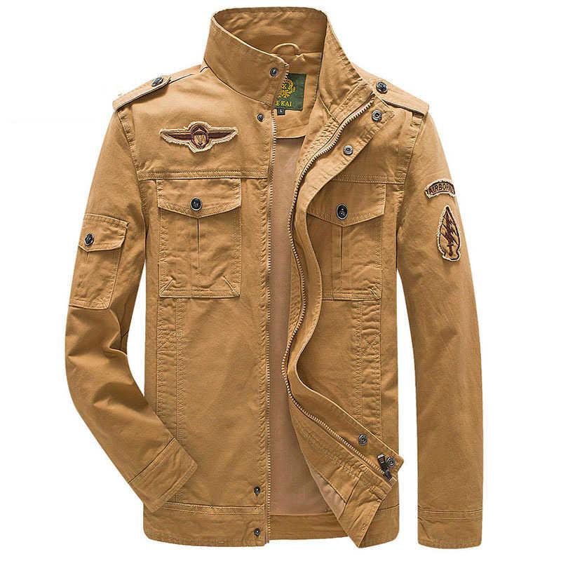 Artı Boyutu Askeri Ceket Erkekler Bahar Sonbahar Pamuk Ordu Katı Erkek ceket ve Mont Moda Kol Bandı Bombacı Ceket Erkek M-6XL