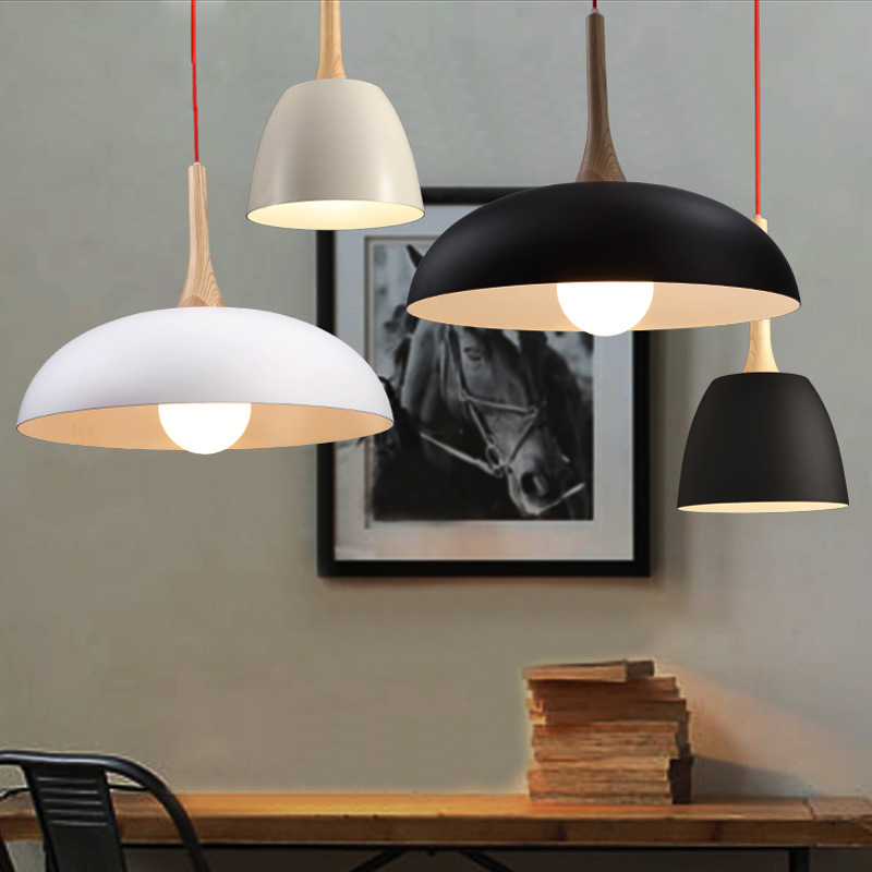 Nordic Creative Restaurant Chandelier Modern Simple Study Living Room Coffee Shop Round Wooden Handle Pot LED Lamp Free Shipping zx modern round acryl pendant lamp simple restaurant led chip droplight single head study bar shop office lamp free shipping