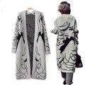 Зима сгущает серый мода ручная роспись женщин длинной шерсти кардиган широкий мохер свитер Batwing рукавом кардиган Большой размер S20