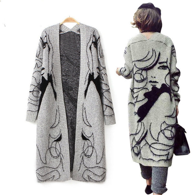Winter Thicken Grey Fashion Hand Painted Women Long Wool Cardigan ...