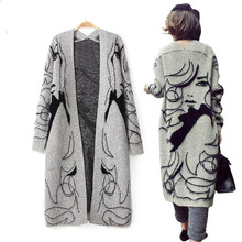 Winter Thicken Grey Fashion Hand-Painted Women Long Wool Cardigan Loose Mohair Sweater