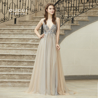 Real Photo Ball gown Spaghetti Strap Illusion Hand Work Beaded Train Long Prom Evening dress Deep V New OL103012