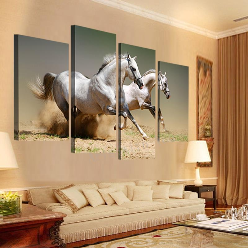 Hot Sale 4 panels Running White Horse Large HD Picture Modern Home ...