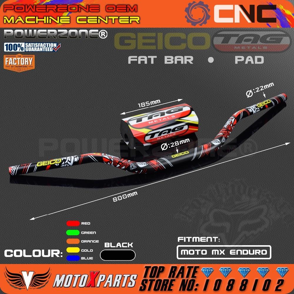PRO TAPER CONTOUR FAT BARS HANDLEBARS RED WITH BLACK PAD MOTOCROSS MX ENDURO