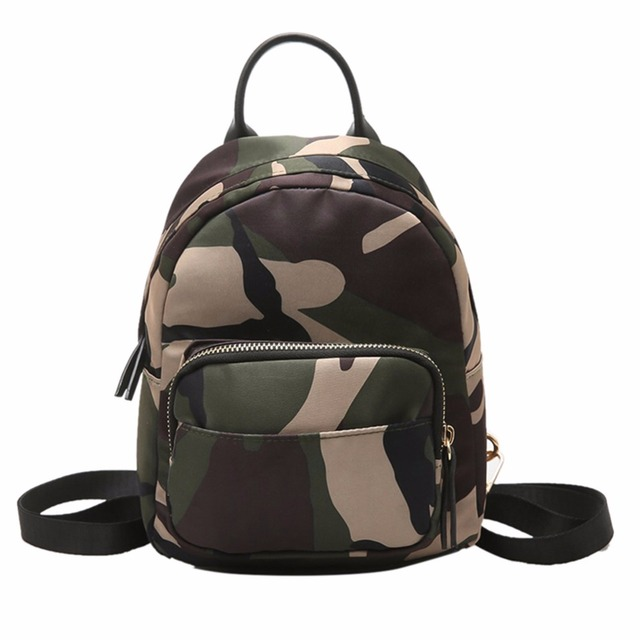 3f9f5db204 Women Nylon Mini Backpack Girls Fashion Camouflage School Bag Ladies  Multifunction Travel Small Rucksack Mochila Feminina