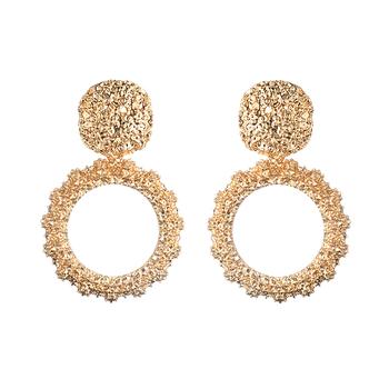 Okrągłe kolczyki Vintage dla kobiet złoto kolor duże kolczyki 2018 moda biżuteria oświadczenie kolczyki nowoczesne modne lato Biżuteria tanie i dobre opinie Drop Earrings Trendy vintage earrings FNQUFUJ Stop cynkowy Metal