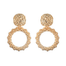 Round Vintage Earrings For Women Gold Color Big Earrings 2018 Fashion Jewellery Statement Earings Modern Trendy Summer Jewelry(China)