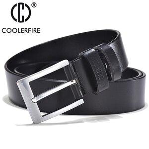Image 2 - COOLERFIRE Belts For Men Black And Brown Top Full Grain Leather Big Silver Buckle Dress Belt JTC001
