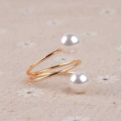 2019 New Gold Color big Ring Fashion Elegant simulated Pearl Opening Rings women jewelry gift  wholesale