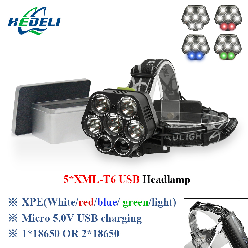 7 led headlamp usb cree xml t6 headlight rechargeable 18650 battery flashlight forehead head lamp hunting and fishing