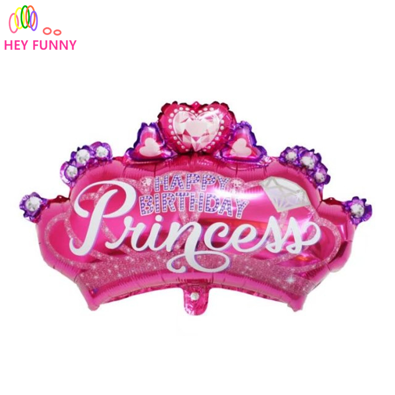 diamond princess crown balloon pink foil balloon birthday party decoration SE