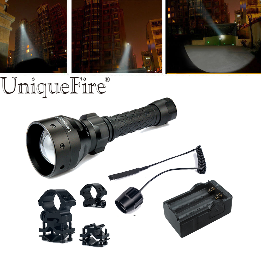UniqueFire UF Flashlight 1406-XPG White Light Zoom 3 Modes Waterproof Lamp Torche Kit: 1Light, 1Rat Tail, 1ScopeMount, 1Charger