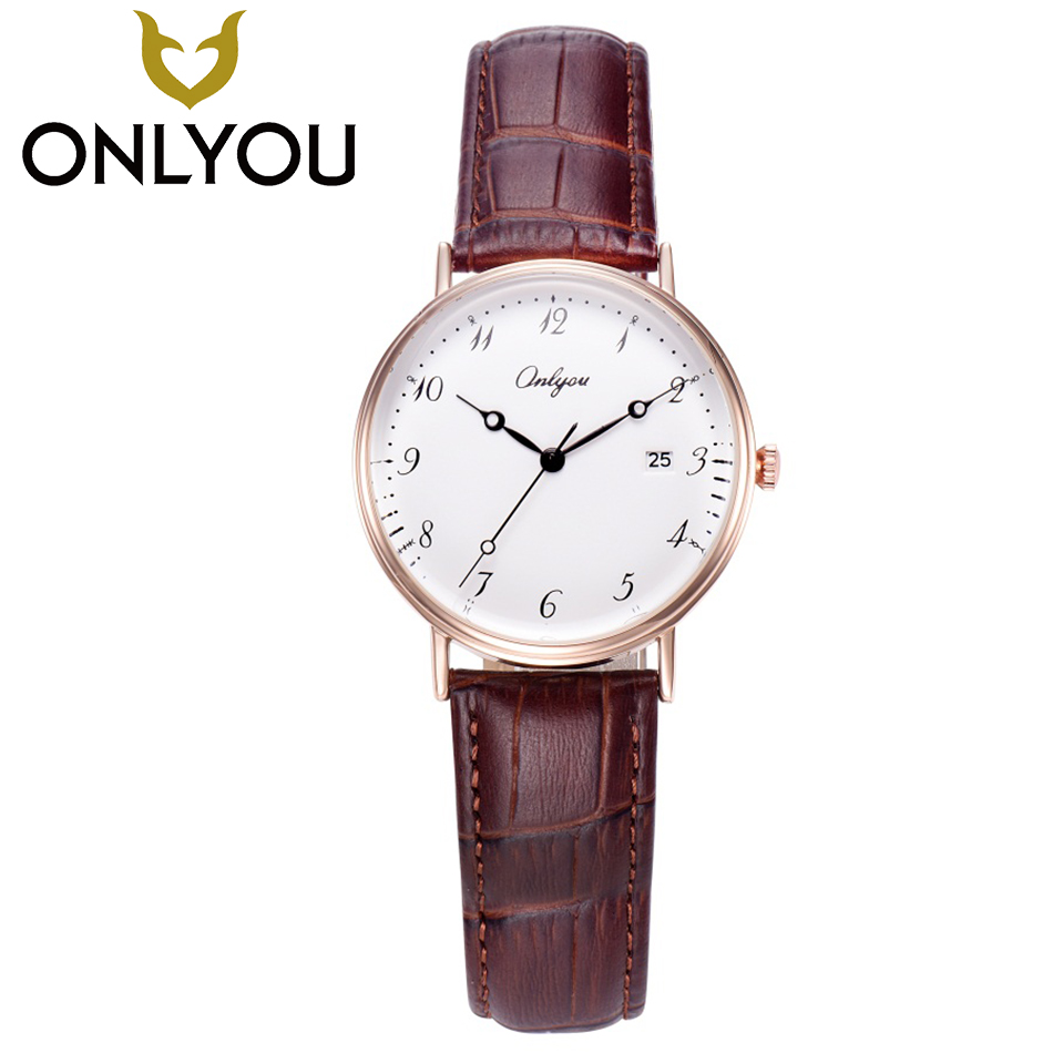 ONLYOU Women Fashion Rose Gold Wristwatch Men Casual Quartz Clock Lover Digital Dial Watch Gift Ladies Simple Leather Watches onlyou women top brand luxury crystal diamond watches ladies fashion casual clock woman rose gold quartz gift watch wholesale