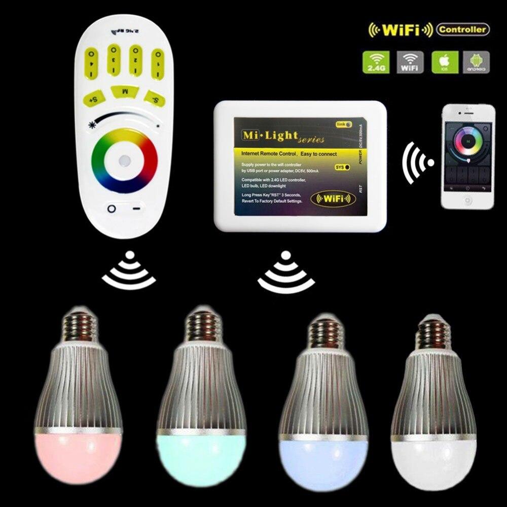 4 x Mi.Light 2.4G RGBW RGB+Warm/White LED Bulb light E27 9W + 1 x pcs 4-Zone Touch Remote + 1x Phone WiFi e cap aluminum 16v 22 2200uf electrolytic capacitors pack for diy project white 9 x 10 pcs