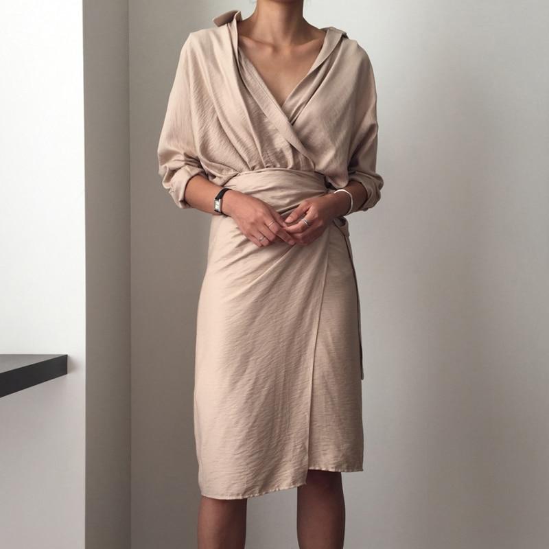 CHICEVER Bow Bandage Dresses For Women V Neck Long Sleeve High Waist Women's Dress Female Elegant Fashion Clothing New 2020 4