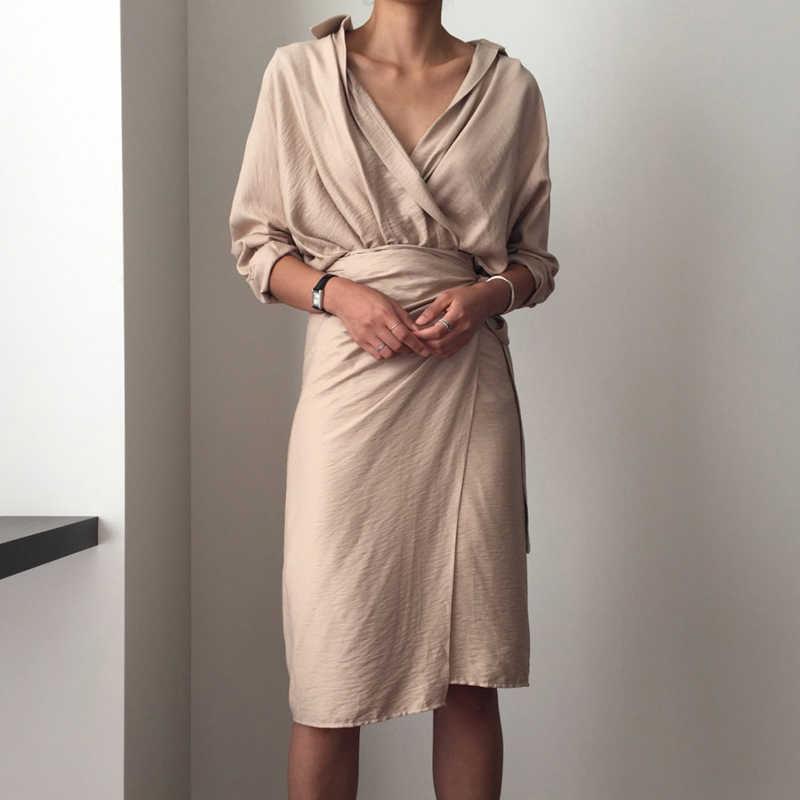 CHICEVER бандажные платья для женщин с v-образным вырезом и длинным рукавом с высокой талией женское платье Женская Элегантная Модная одежда Новинка 2019