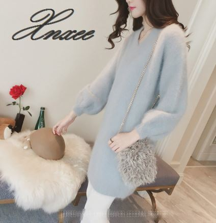 Xnxee Autumn Winter Fashion Loose Sweater Dress Women 3XL Large Size Casual Long Sleeve Solid Color Sweater Dress in Pullovers from Women 39 s Clothing
