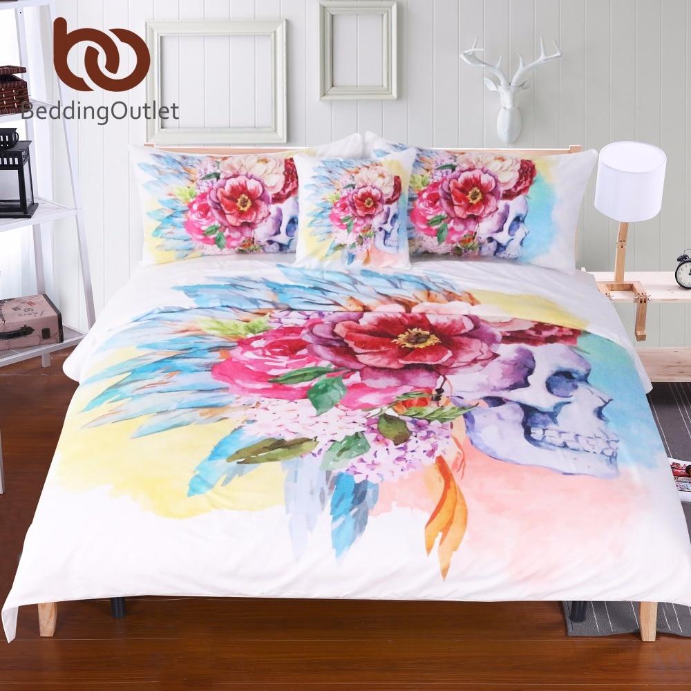 BeddingOutlet Bunte Schädel und Floral Bettbezug Set 4 Stücke Super Weiche Bettwäsche Blumen Gedruckter Bettwäschesatz Luxus