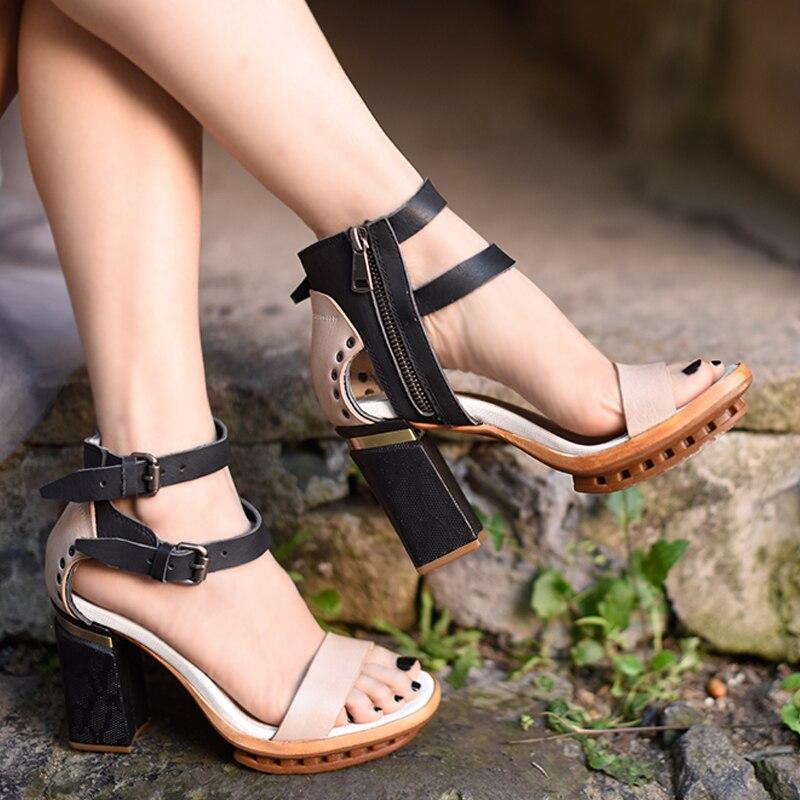 Artmu الأصلي الرجعية جلد البقر اصبع القدم مفتوحة النساء الصنادل منصة عالية الكعب الأحذية جلد طبيعي اليدوية الصنادل 10835 1-في كعب عالي من أحذية على  مجموعة 1