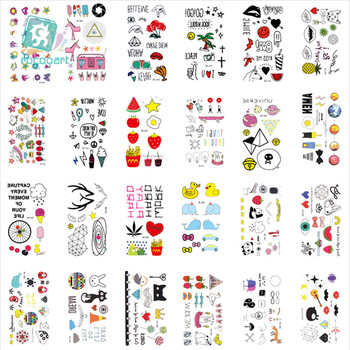 25 Different Children's Colorful Tattoo Stickers Waterproof CartoonTattoos For Kids With Duck Icecream Cherry Elephant Shape