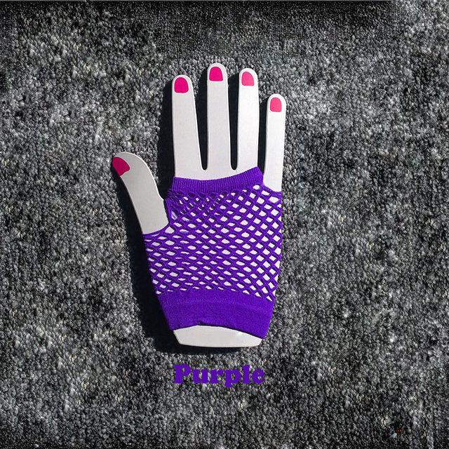 2015 High Quality Neon Short Fishnet Gloves Fish Net Black Fancy  Party Dance Club Nylon+Spandex Mesh Short Gloves 2