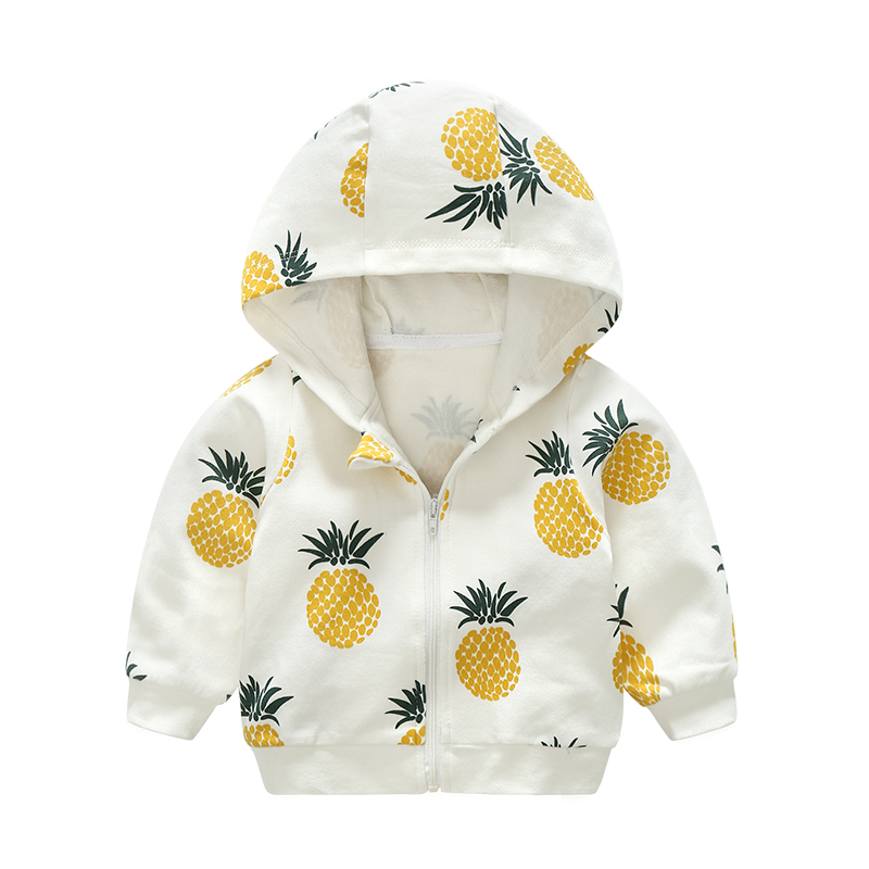 Cotton Pineapple Printed Children'S Clothing Hooded Sweatershirt 3 Months -2 Year