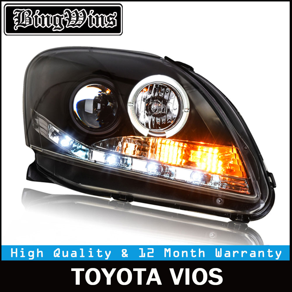 Car Styling For TOYOTA VIOS headlights 2008-2013 For VIOS LED head lamp Angel eye led DRL front light Bi-Xenon Lens xenon HID