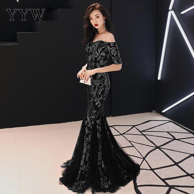 Green Leaf Sequined Off Shoulder Evening Dresses Luxury Sexy Robe De Soiree Long Mermaid Party Dress Elegant Cocktail Clubwear 2