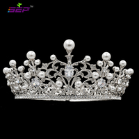 2.8inches Height Real Austrian Crystals Imitation Pearls Tiara Crown Bridal Wedding Hair Jewelry Accessories SHA8740