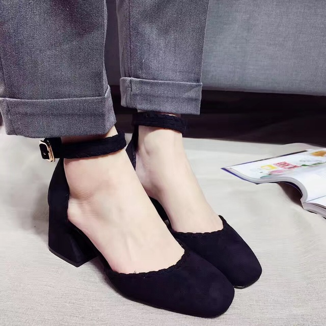 2017 New Arrival Black Pink Microfiber Thick High Heel Pumps 6cm Open Shank Square Toe Thick Mid Heel Women's Shoes Summer