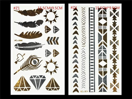 Free Shopping Sex Products Temporary Tattoo For Man And Women Waterproof Stickers makeup make up Flash Gold Tattoo 10