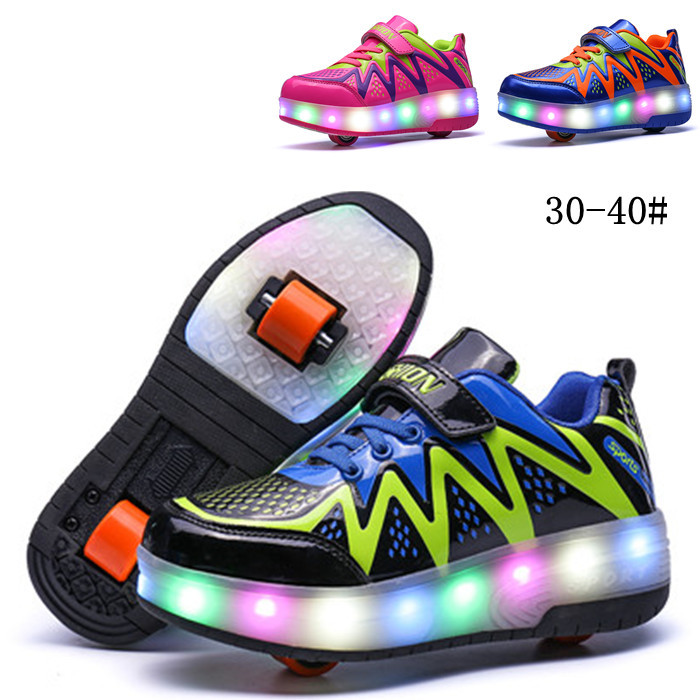Children Walking Shoes with One/double Wheels Boys and Girls Invisible Automatic Pulley Roller Skate Flashing LED Students Shoes vik max adult kids dark blue leather figure skate shoes with aluminium alloy frame and stainless steel ice blade