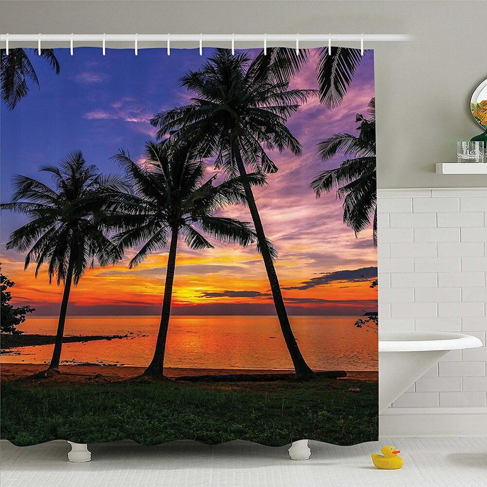 Nautical Tropical Seascape Seashore Decor, Ocean Palms Tree Sunset Seaside Beach View Design Aquamarine Vacation Scenery