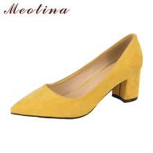 Купить с кэшбэком Meotina Thick High Heels Shoes Women Pumps Pointed Toe Work Shoes Slip On High Heels Spring Footwear Big Size 9 42 43 Red Yellow