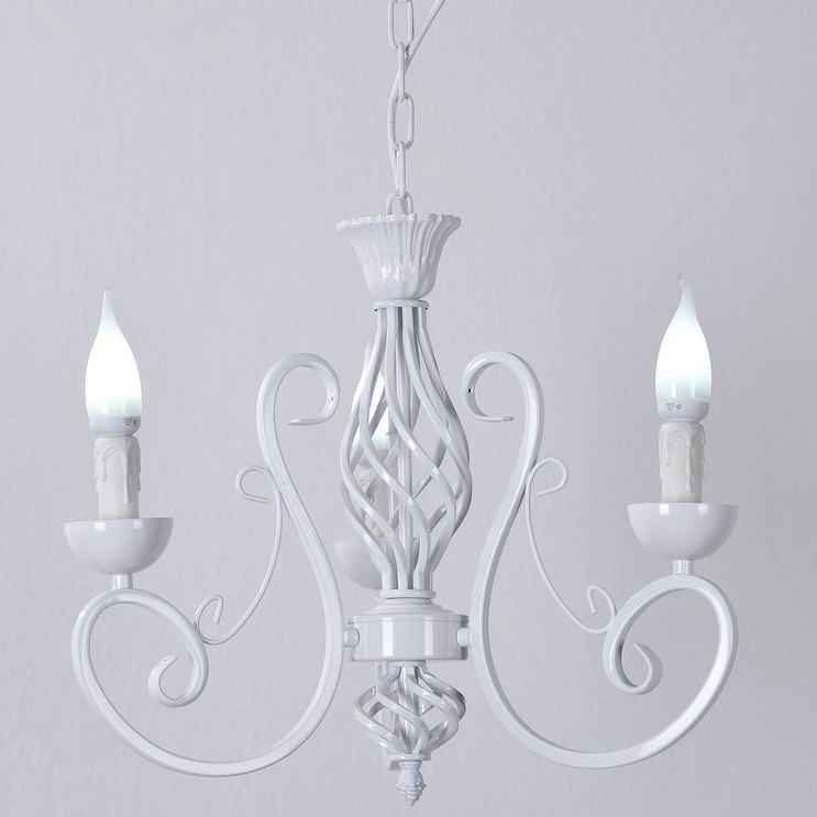 Vintage White Iron Chandelier Lighting Fixture Retro Ceiling lamp Candle Lights Lighting Fixtures Metal Home Lighting E14