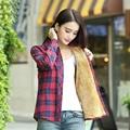 2016 Autumn Winter Fleece Fashion Plaid Plus Size Women Shirt Long Sleeve Turn Down Collar Thick Slim Blouses Shirts Lq286