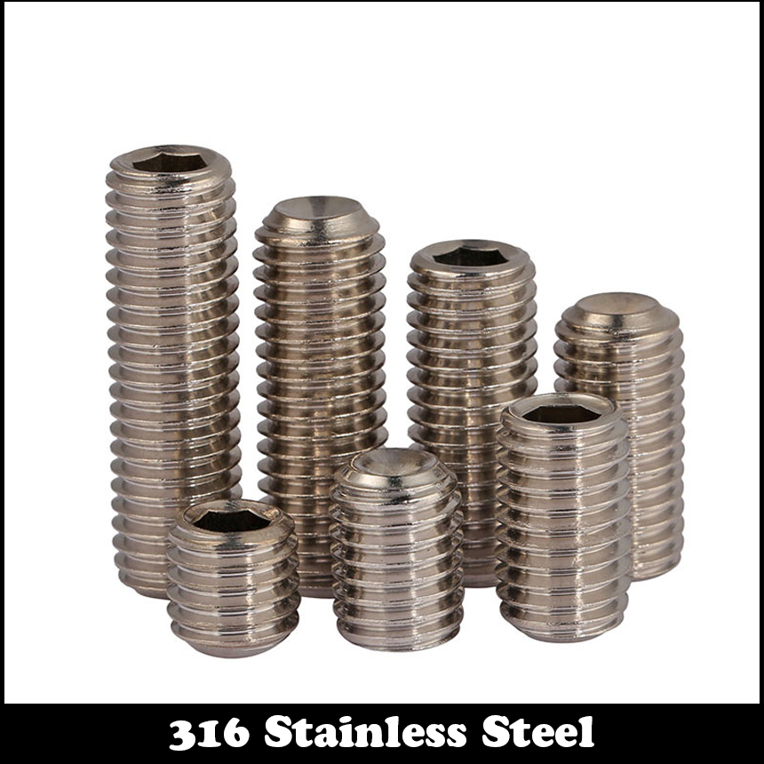 50pcs M4 4mm M4*4mm M4X4 316 Stainless steel SS Grub Top Thread Screw Inner Hexagon Hex Socket Slotted Set Srews 20pcs m3 6 m3 x 6mm aluminum anodized hex socket button head screw