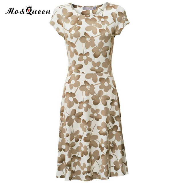 MOQUEEN Casual Dress Women 2017 New Fashion Short Sleeve Vintage Beach Dress O-neck Polyester Printed Floral Tight Summer Dress