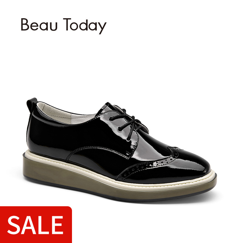 62cee6d60580 Online Shop BeauToday Wingtip Oxfords Shoes Women Lace-Up Genuine Patent  Cow Leather Shoes for Ladies Square Toe Brogue Style Flats 21082