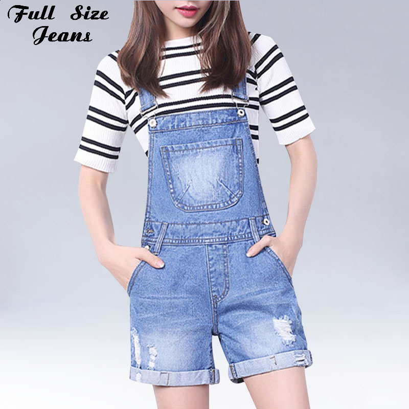 Summer Plus Size Light Blue White Wash Ripped Cuffed Jean Shorts Romper 4XL 6XL XXS Big Size Combinaison Denim   Jumpsuit   Overalls