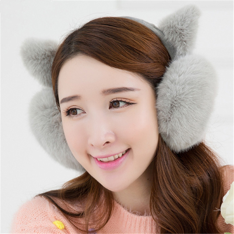 CUHAKCI Keep Warm Earmuffs Cute Rabbit Fur Ear Hairy Cover Headphones Winter Fashion Lovely Ear Fur Earmuffs Anti-cracking Girls