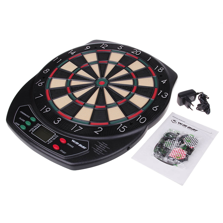 18 Inch Professional Electronic Dart Board Set with 6pcs Darts Soft Tip Dartboard for Indoor Game English Voice Scorer  wmg08580 professional 18 soft tip electronic voice dartboard with 6 dart black multicolor